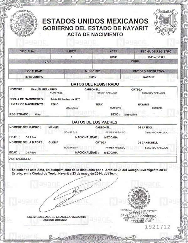 Tiene Carbonell dos actas de nacimiento, una de Veracruz y otra de ...