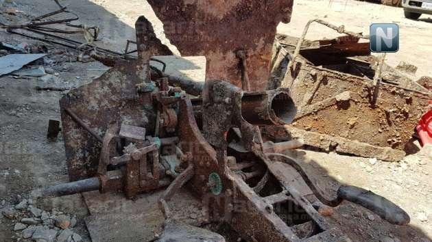Hallan cañón de la Revolución Mexicana en obra del Mercado Morelos, Tepic.  Canon7